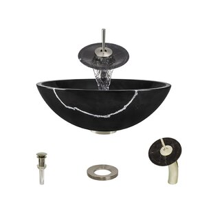 Stone Circular Vessel Bathroom Sink with Faucet ByMR Direct