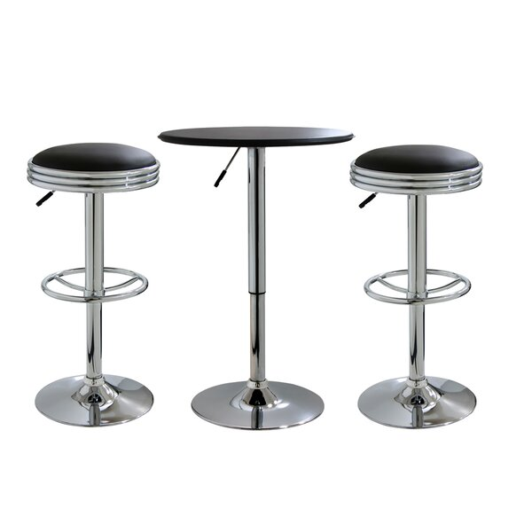 Impriano Classic Retro 3 Piece Adjustable Pub Table Set by Ebern Designs