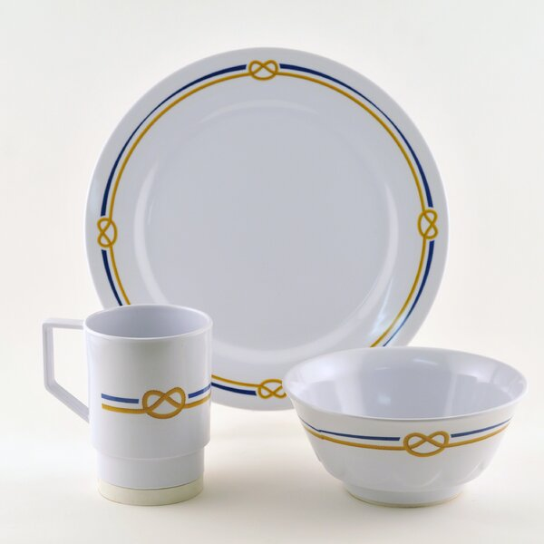 Decorated Rope Melamine 18 Piece Dinnerware Set, Service for 6 by Galleyware Company