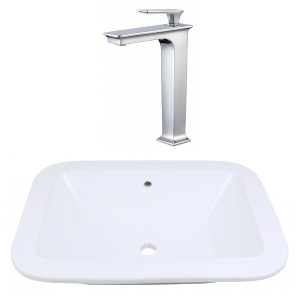 Ceramic Rectangular Dual Mount Bathroom Sink with Faucet and Overflow by American Imaginations