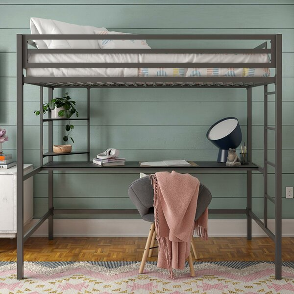Maxwell Metal Loft Bed with Shelves by Novogratz
