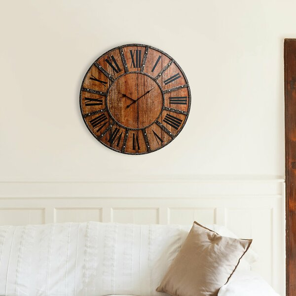 Oversized Higgenbotham Rustic Frameless Farmhouse 30 Wall Clock by Millwood Pines