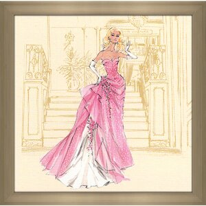 Pink gown with White Polka Dots Barbie® by Robert Best Framed Painting Print by Picture Perfect International