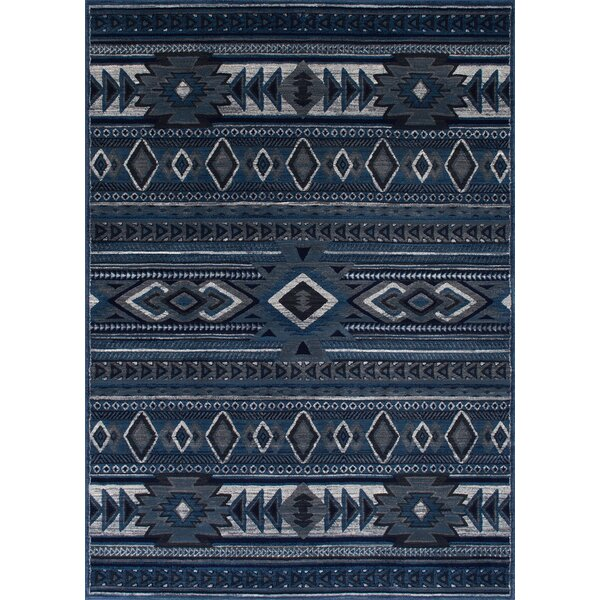 Cima Tribal Style Thunder Blue Area Rug by Loon Peak