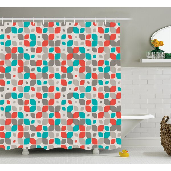 Emmanuell Retro Mosaic Motif Shower Curtain by Ebern Designs