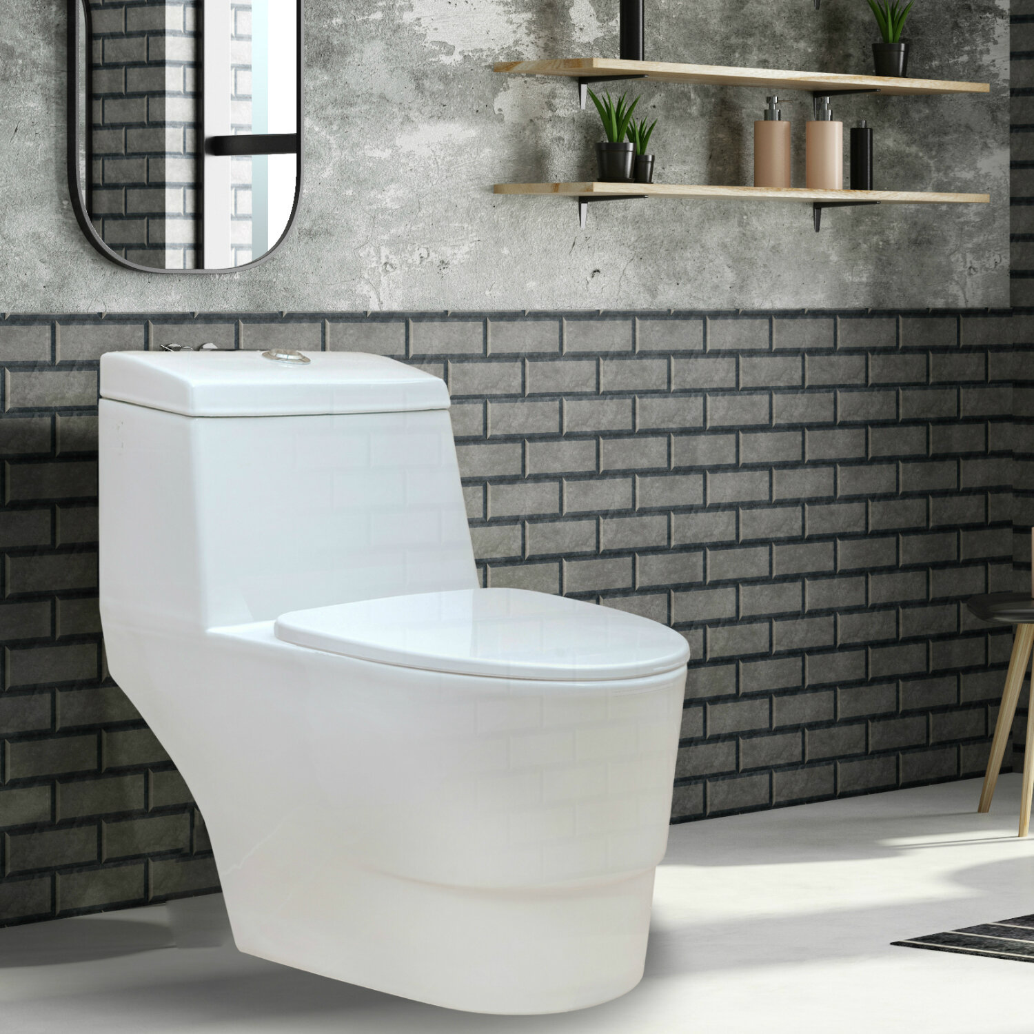 Cool Modern Dual Flush Elongated One Piece Toilet Seat Included Ibusinesslaw Wood Chair Design Ideas Ibusinesslaworg