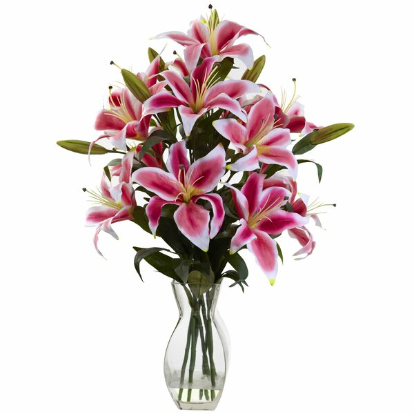 Rubrum Lily Floral Arrangement by Nearly Natural