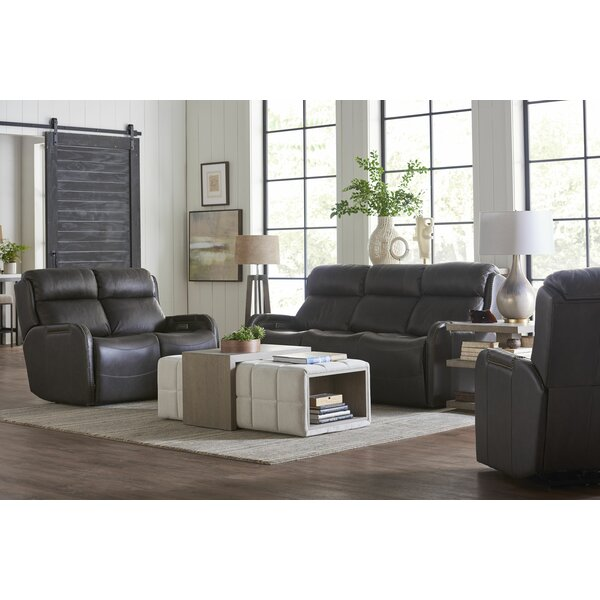 Review Dutson Leather Reclining Configurable Living Room Set