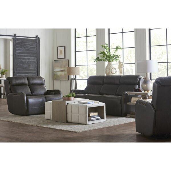 Deals Price Dutson Leather Reclining Configurable Living Room Set