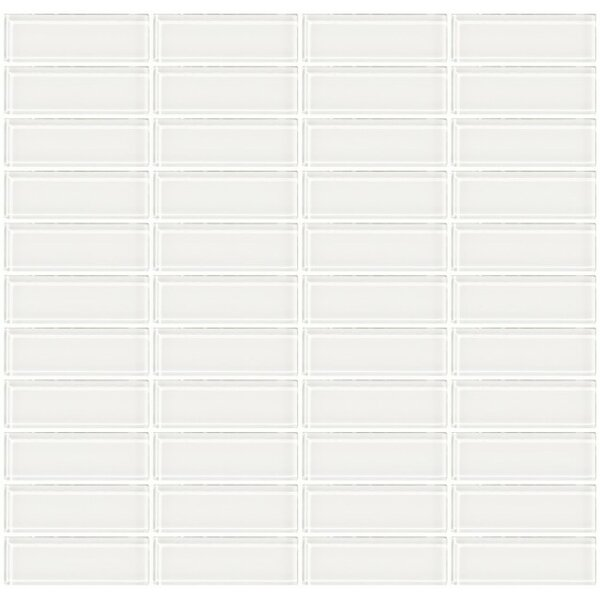 Stacked 1 x 3 Glass Subway Tile in White by Susan Jablon