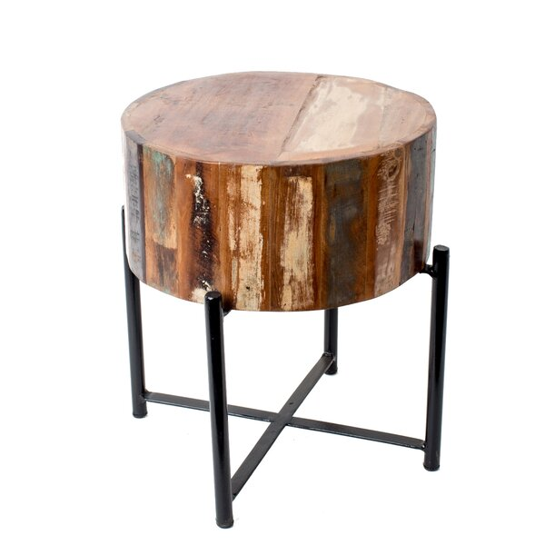 Fitzhugh Round Reclaimed Wood and Iron Stool by Mistana