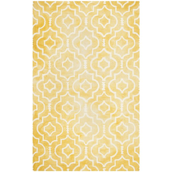 Hand-Tufted Gold/Ivory Area Rug by House of Hampton