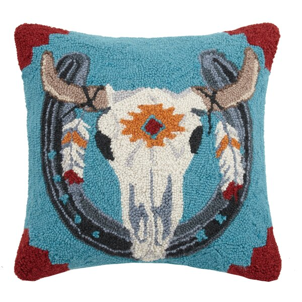 Cow Skull Wool Throw Pillow by Peking Handicraft