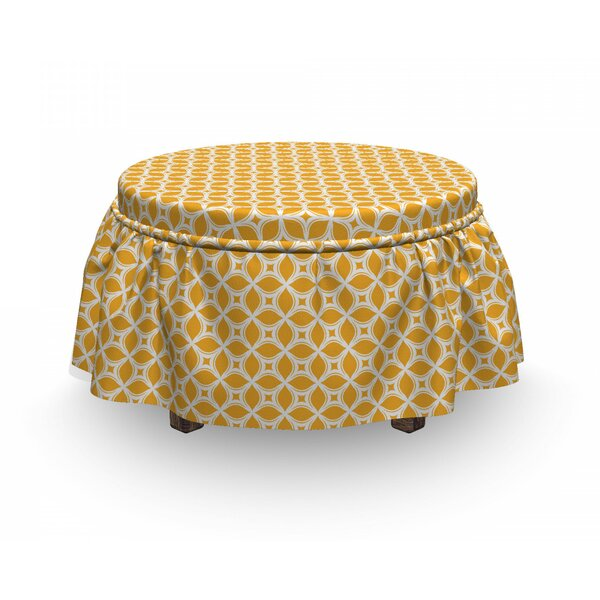 Oriental Floral Tile Lattice Ottoman Slipcover (Set Of 2) By East Urban Home
