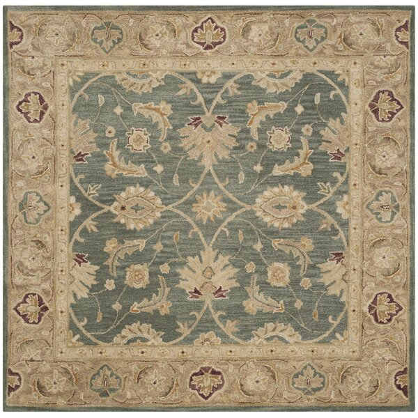 Tinley Hand-Tufted Wool Teal Blue Area Rug by Alcott Hill