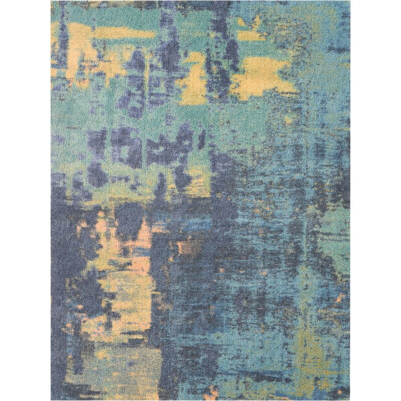 Westminster Blue Teal Yellow Rug