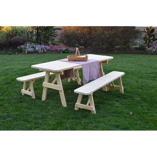 Smyrna Pine Traditional Picnic Table with 2 Benches by Loon Peak