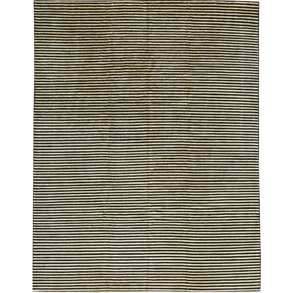 One-of-a-Kind Himalayan Art African Zebra Hand-Knotted Wool Black/White Area Rug by Bokara Rug Co., Inc.