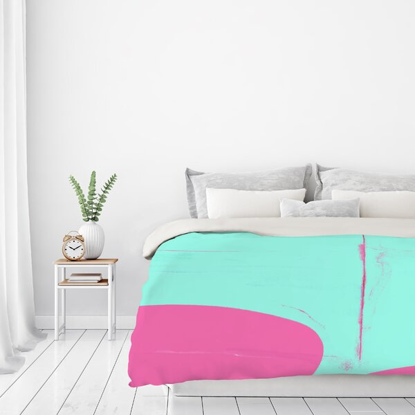 Pink And Cyan Abstract Duvet Cover