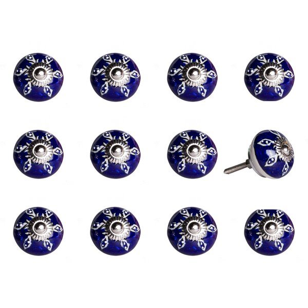 Handpainted Ceramic Round Knob (Set of 12) by Taj Hotel