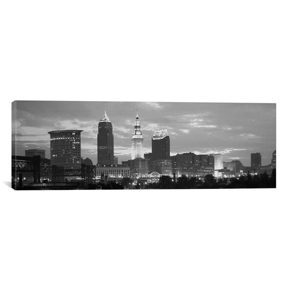 Cleveland Panoramic Skyline Cityscape Photographic Print on Canvas by iCanvas