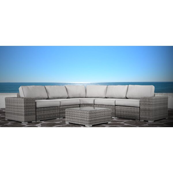Hoyle 8 Piece Rattan Sectional Set with Cushions by Rosecliff Heights