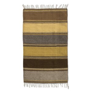 Zapotec Hand-Woven Brown / Gold Area Rug