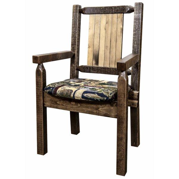 Abella Solid Wood Slat Back Arm Chair in Brown by Loon Peak Loon Peak
