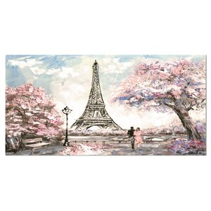 'Eiffel with Pink Flowers' Photographic Print on Wrapped Canvas by Design Art