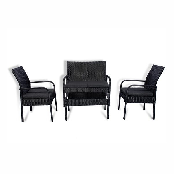 Caceres 4 Piece Rattan Sofa Seating Group with Cushions by Highland Dunes