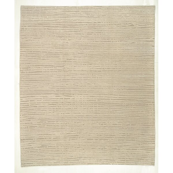 Striped Hand-Knotted Wool Beige Indoor/Outdoor Area Rug