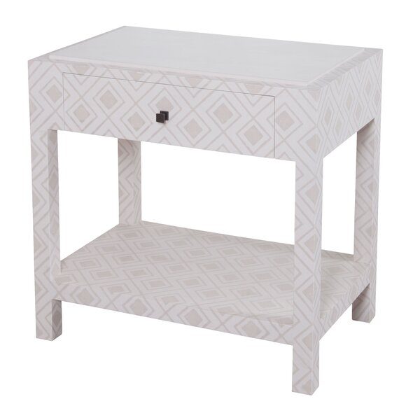 Lisa Fabric Wrapped Nightstand by Bungalow Rose