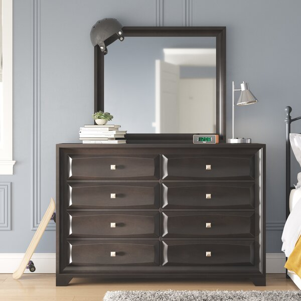 Kori 8 Drawer Double Dresser with Mirror by Grovelane Teen