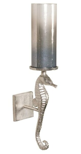 Seahorse Glass/Metal Sconce by Rosecliff Heights