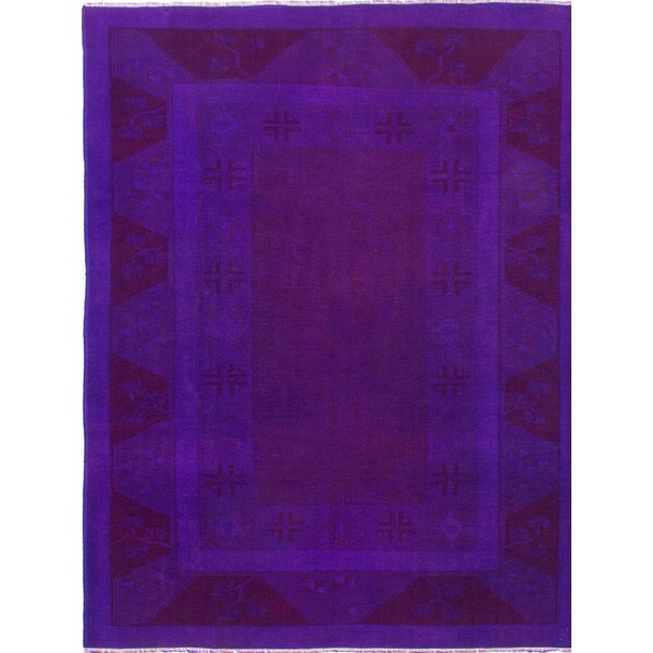 One-of-a-Kind Transition Hand-Knotted Purple Area Rug by ECARPETGALLERY