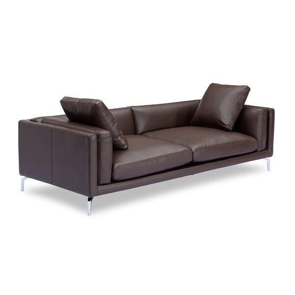 Tia Loft Leather Sofa by Orren Ellis