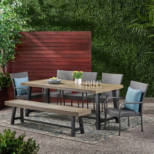 Lionel Outdoor Seater 7 Piece Dining Set by Longshore Tides