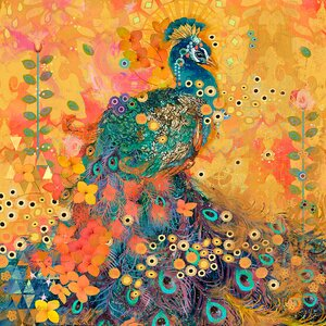 'Afrikarma Peacock' by Evelia Painting Print on Wrapped Canvas by Marmont Hill