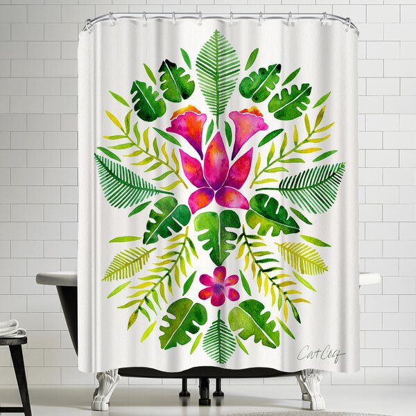 Tropical Symmetry Pink and Green Shower Curtain by East Urban Home