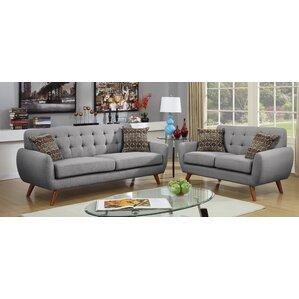 Darby Modern Grey Fabric Sectional Sofa Set