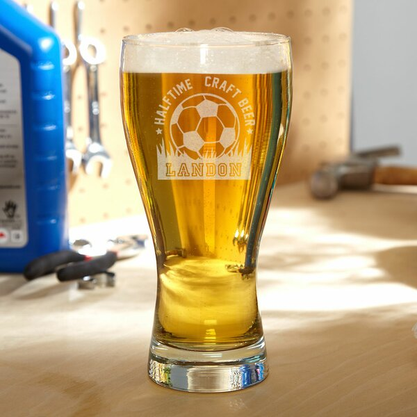 Halftime Soccer Personalized 20 oz. Glass Pint Glass by Home Wet Bar