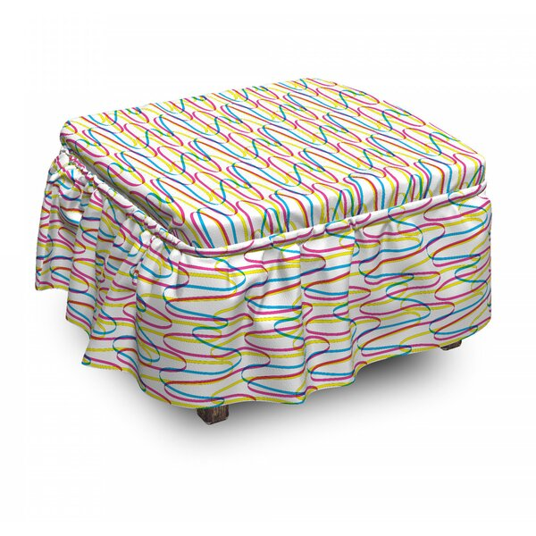 Wavy Lines Ottoman Slipcover (Set Of 2) By East Urban Home
