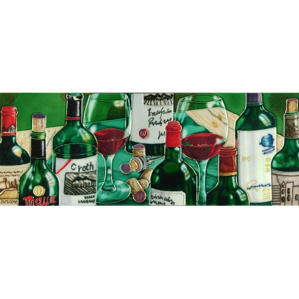 Wine Bottles with Table Cloth Tile Wall Decor by Continental Art Center