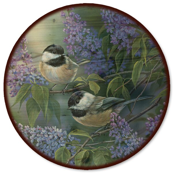 Chickadees and Lilac Lazy Susan by WGI-GALLERY