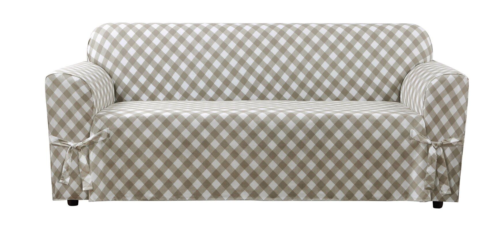 Sure Fit Buffalo Check Box Cushion Sofa Slipcover Reviews Wayfair ~ White Linen Sofa Slipcover