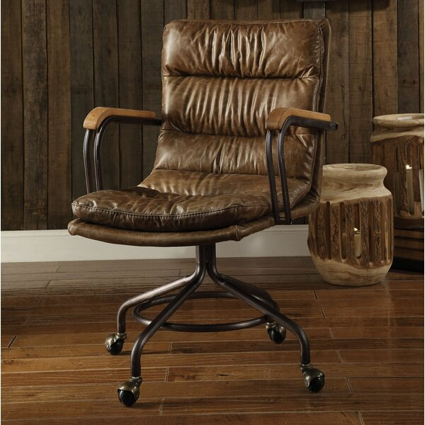 Littell Genuine Leather Executive Chair by 17 Stories
