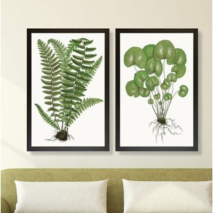 'Lively Fern Leaves' 2 Piece Framed Graphic Art Print Set By Gracie Oaks