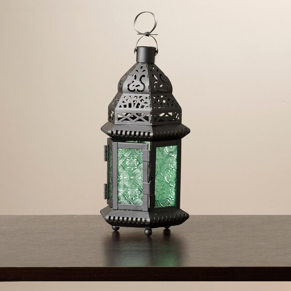Lucy Green Glass Moroccan Lantern by Bungalow Rose