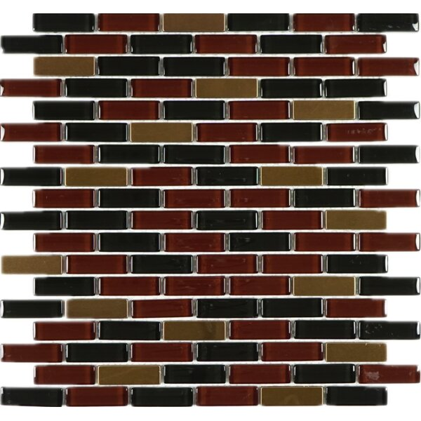 0.62 x 2 Glass Mosaic Tile in Chocolate Brown/Red by Multile