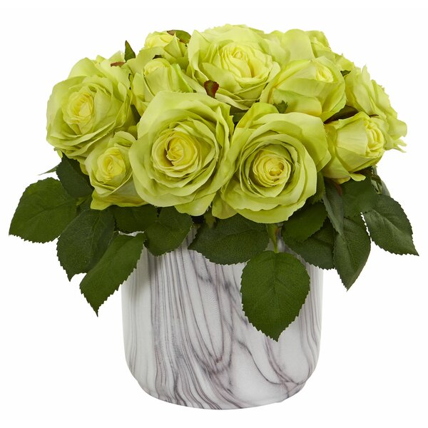 Artificial Rose Centerpiece in Vase by Highland Dunes
